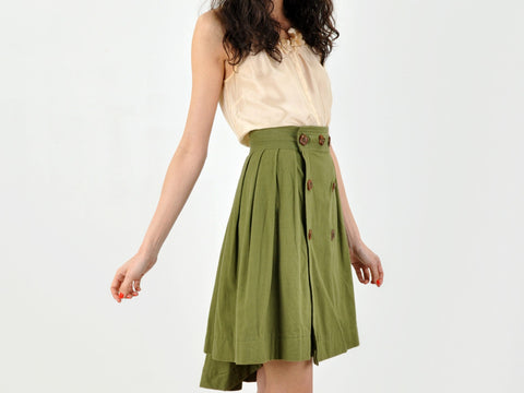 Vintage Olive Green Asymmetrical Skirt