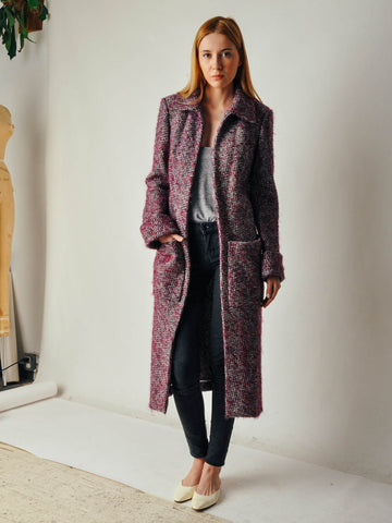 Veronique Leroy Purple Tweed Coat