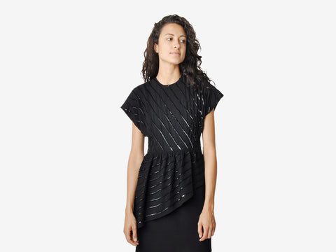 Vintage Black Sequined Asymmetrical Dress