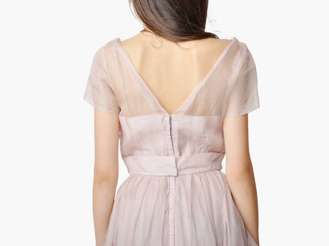 Vintage Dusty Rose Silk Chiffon Dress
