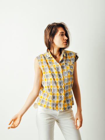 Vintage 50s Town & Country Gingham Top