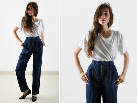 Vintage High-Waisted Wide Leg Denim Trousers