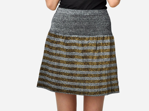 Striped Metallic Skirt