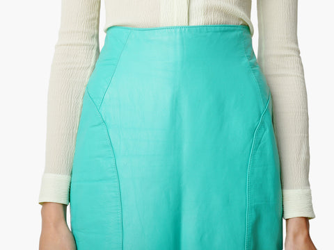 Vintage Turquoise Leather Skirt