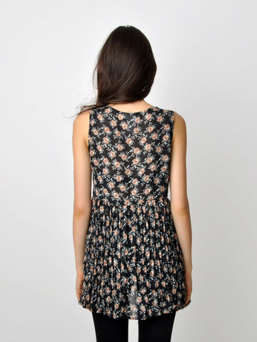 Vintage Sheer Floral Buttoned and Pleated Tank