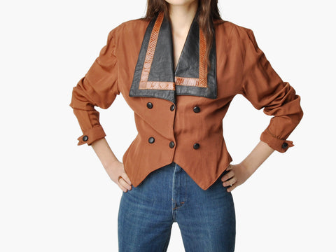 Vintage Brown Leather and Snakeskin Collared Jacket