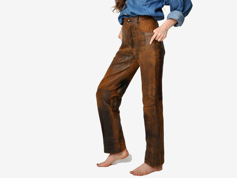Vintage Charles Chevignon Distressed Brown Leather Pants