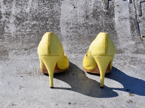 Vintage Sparkly Adige Paris Yellow Heels