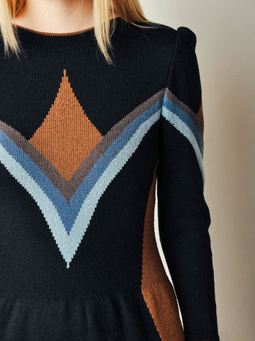 Vintage Adolfo Graphic Sweater Dress