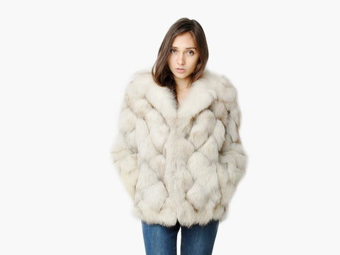 Vintage Diamond Arctic Fox Fur Coat
