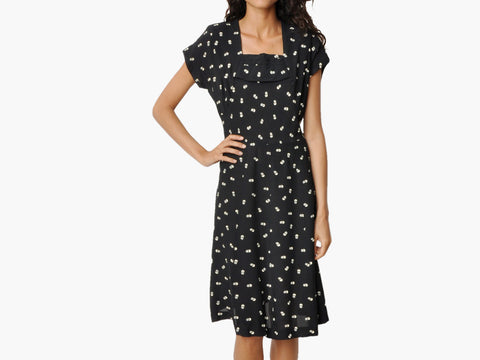 Vintage Black and White Circle Print Dress