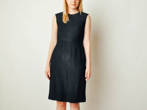 Vintage Embellished Collar Black Dress