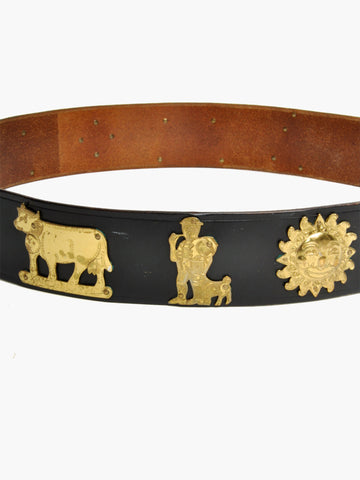 Vintage Black Leather Belt With Gold Figurines