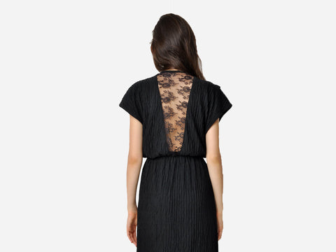 Vintage Crinkle Cowl Dress With Lace Cutout Back