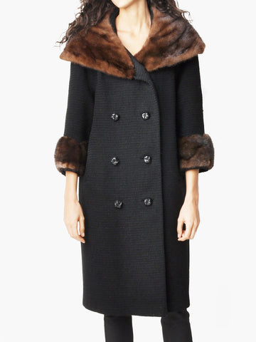Vintage Black Wool Coat with Huge Mink Fur Collar and Cuffs