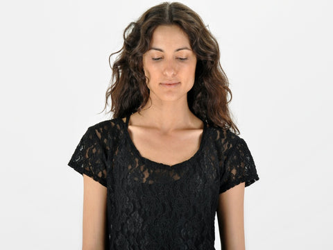 Vintage Black Stretch Lace Top
