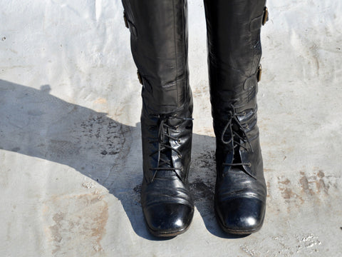 Vintage Black Leather Equestrian Buckle Boots