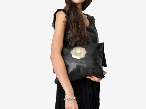 Vintage Black Leather Tote Bag With Silver Decoration