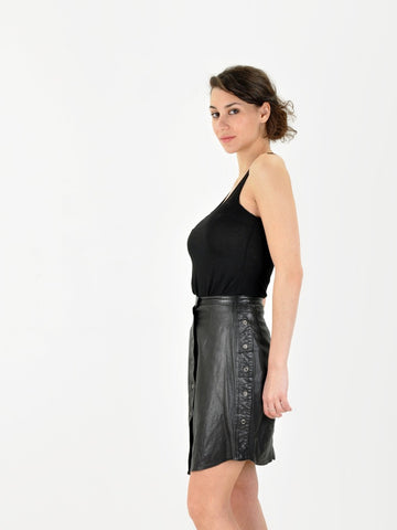 Vintage Black Leather Grommet Skirt