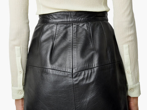 Vintage Black Leather Pencil Skirt