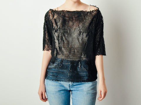Vintage Black Cutout Leather Top