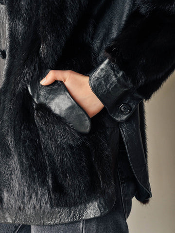 Vintage Black Mink Short Fur Coat