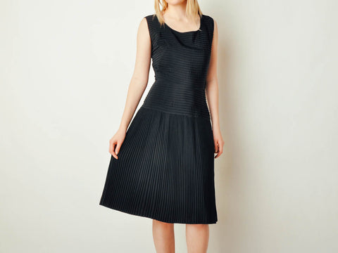 Vintage Black Pleated & Pintucked Dress
