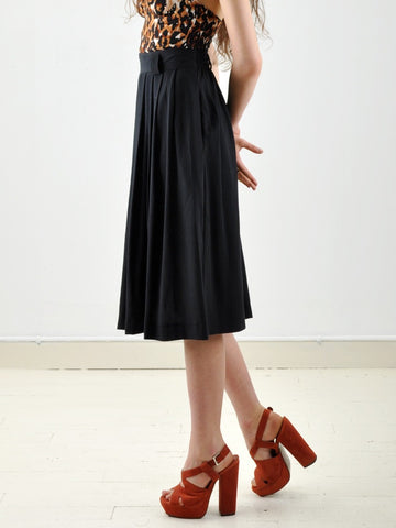 Vintage Black High Waist Pleated Midi Skirt