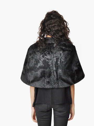 Vintage Black Pony Hair Fur Cape