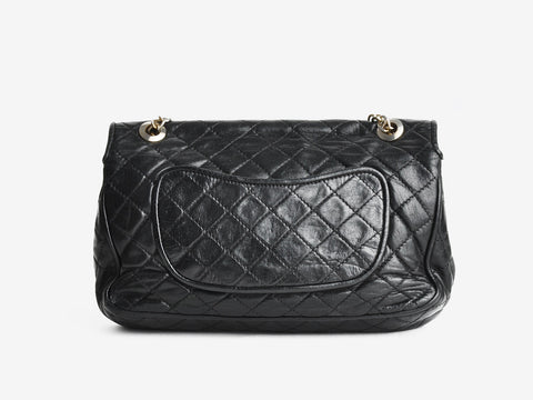 Vintage Black Leather Quilted Bag