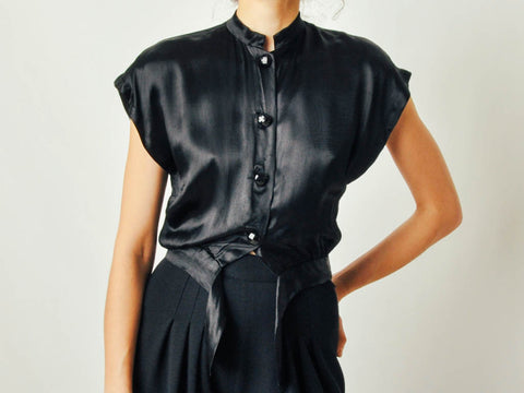 Vintage Black Satin Blouse