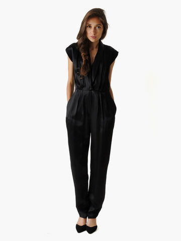 Vintage Black Satin Jumpsuit