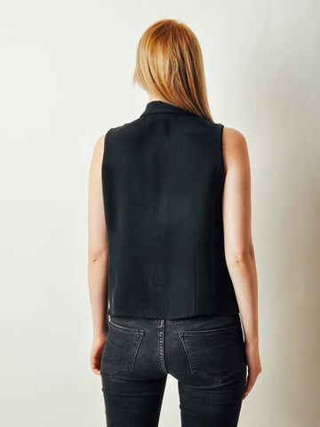 Vintage Black Silk Collared Tank Top