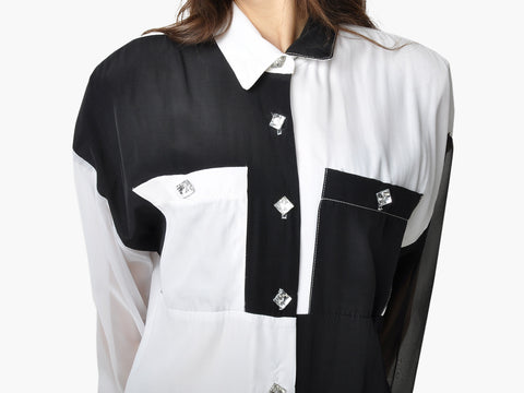 Vintage Black and White Collared Shirt
