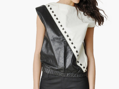 Vintage Black & White Graphic Leather Top