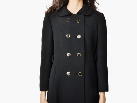 Vintage Black and Gold Double Breasted Coat