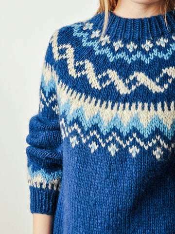 Vintage Blue Fair Isle Sweater