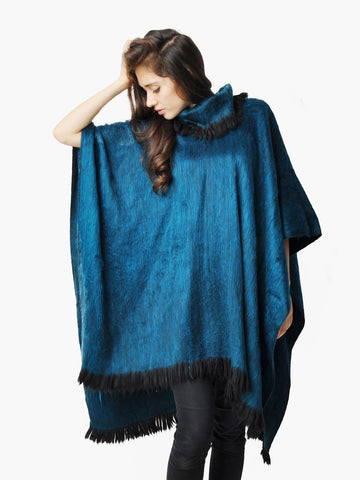 Vintage Iridescent Teal Pullover Cape