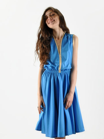 Vintage Blue and Gold Draped Dress