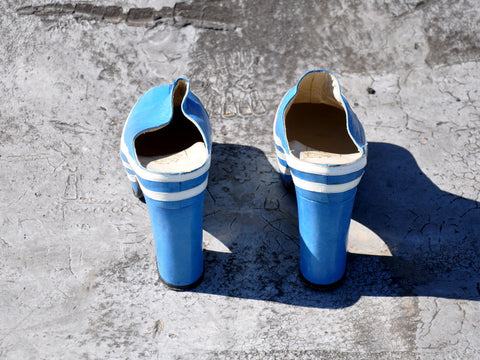 Vintage Blue Leather Platforms