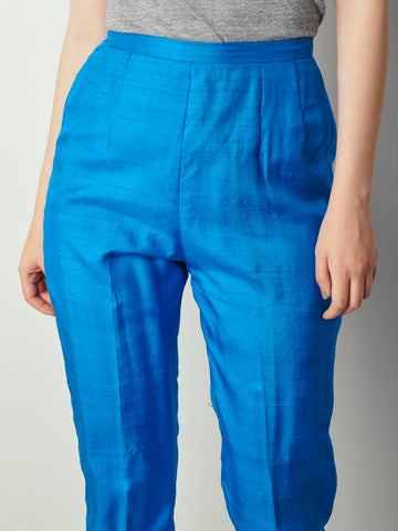 Vintage Bright Blue Silk Pants
