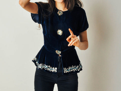 Vintage Blue Velvet Sequin Top