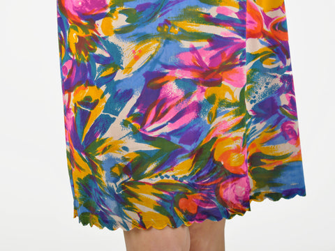 Vintage Abstract Watercolor Floral Print Skirt