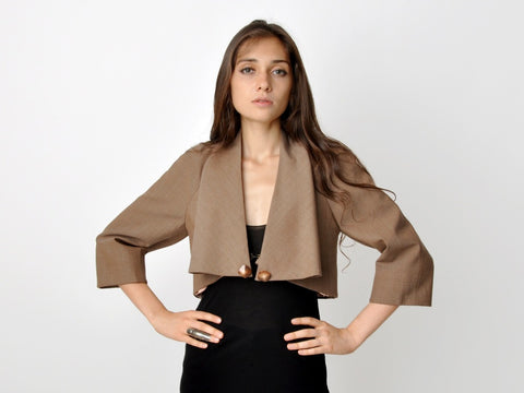 Vintage Cropped Jacket With Draped Collar