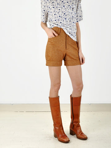 Vintage Speckled brown Cuffed Shorts