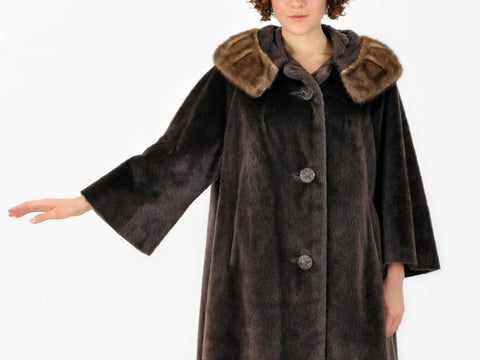 Vintage Brown Faux Fur Swing Coat