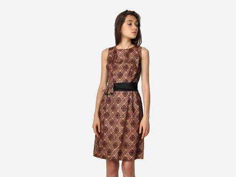 Vintage Brown Floral Lace Dress