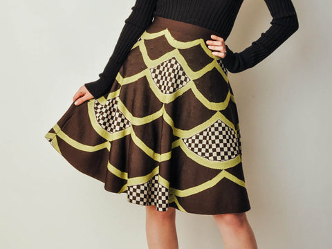 Brown Printed Knit Skirt