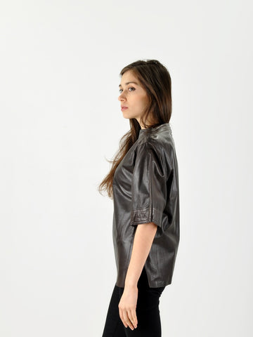 Vintage Dark Brown Leather Shirt