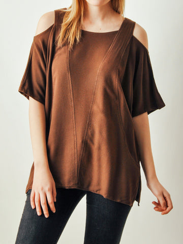 Vintage Brown Cutout Top